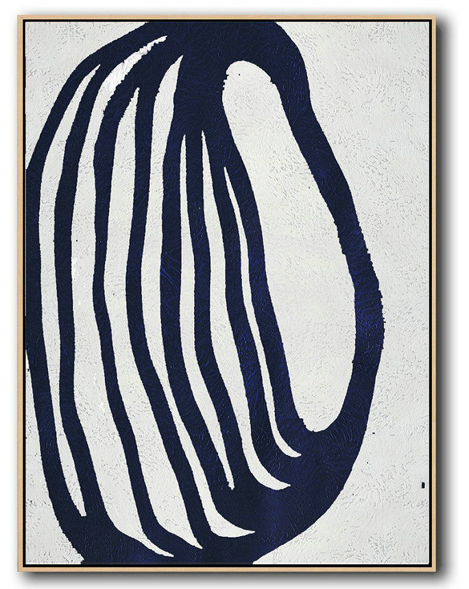Large Abstract Art,Buy Hand Painted Navy Blue Abstract Painting Online,Wall Art Painting