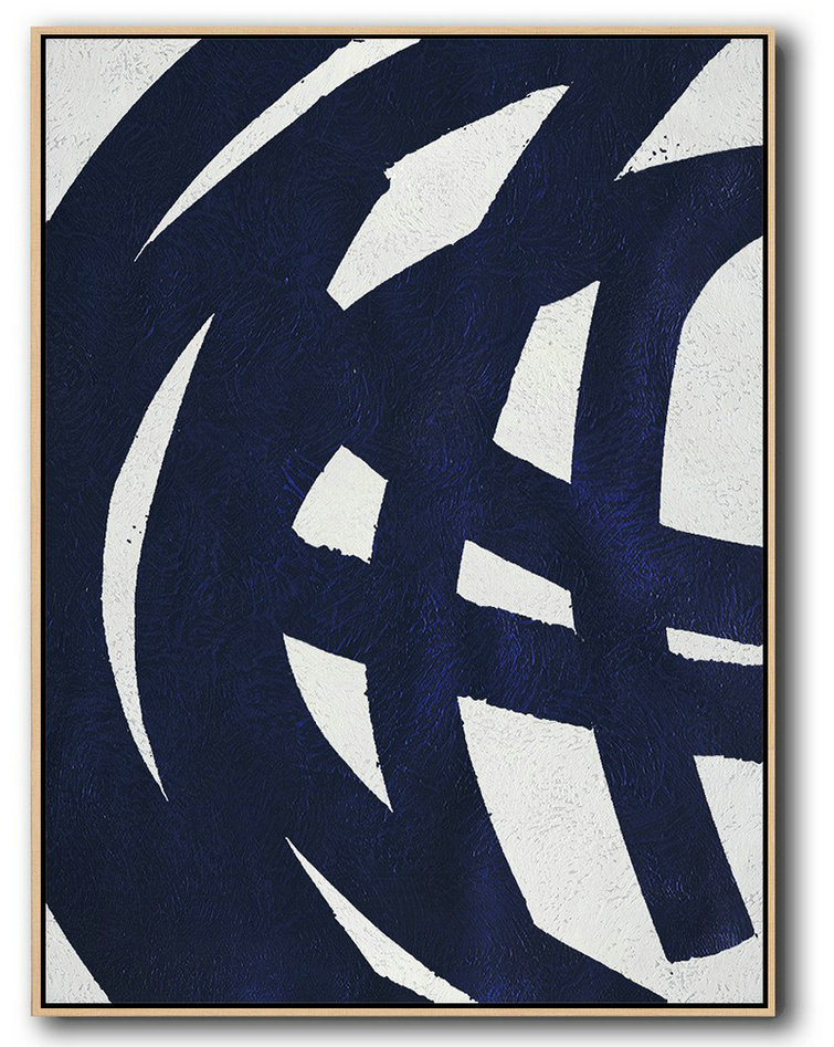 Large Abstract Art Handmade Painting,Buy Hand Painted Navy Blue Abstract Painting Online,Large Living Room Decor