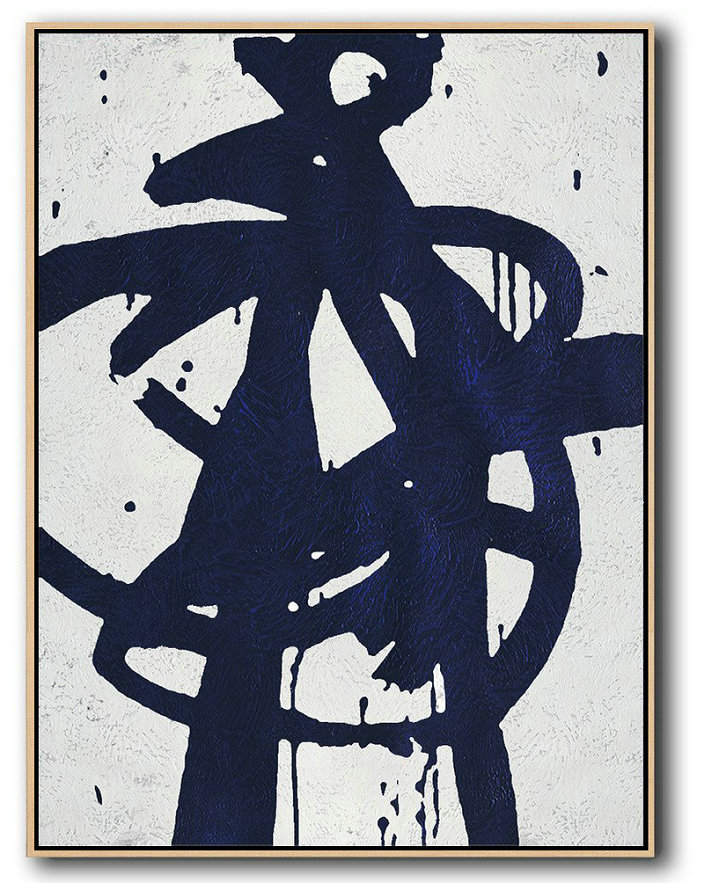 Large Abstract Painting On Canvas,Buy Hand Painted Navy Blue Abstract Painting Online,Xl Large Canvas Art