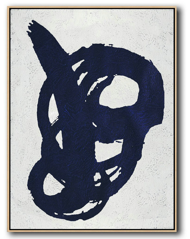 Original Painting Hand Made Large Abstract Art,Buy Hand Painted Navy Blue Abstract Painting Online,Big Painting