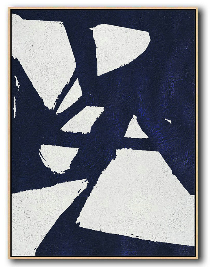 Handmade Large Contemporary Art,Buy Hand Painted Navy Blue Abstract Painting Online,Hand-Painted Contemporary Art