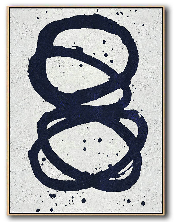 Hand Painted Extra Large Abstract Painting,Buy Hand Painted Navy Blue Abstract Painting Online,Modern Art Abstract Painting