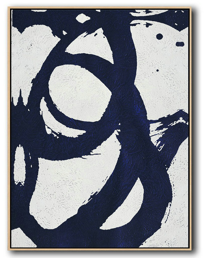 Abstract Painting Extra Large Canvas Art,Buy Hand Painted Navy Blue Abstract Painting Online,Hand Paint Abstract Painting