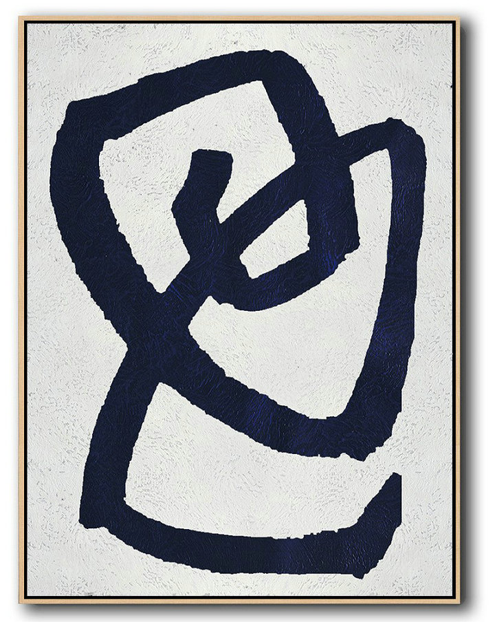 Extra Large Canvas Art,Buy Hand Painted Navy Blue Abstract Painting Online,Large Contemporary Art Canvas Painting