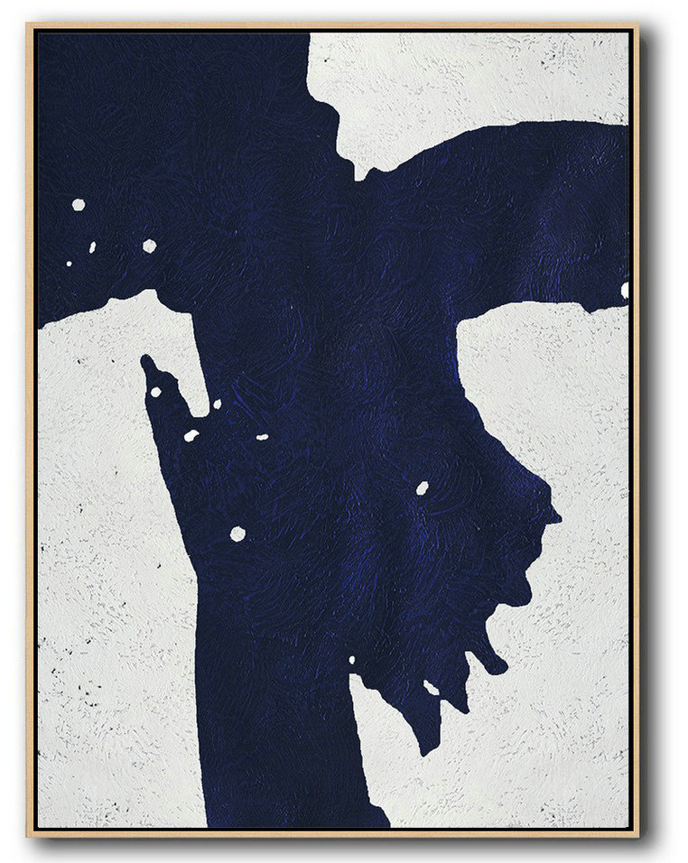 Large Contemporary Art Acrylic Painting,Buy Hand Painted Navy Blue Abstract Painting Online,Big Canvas Painting