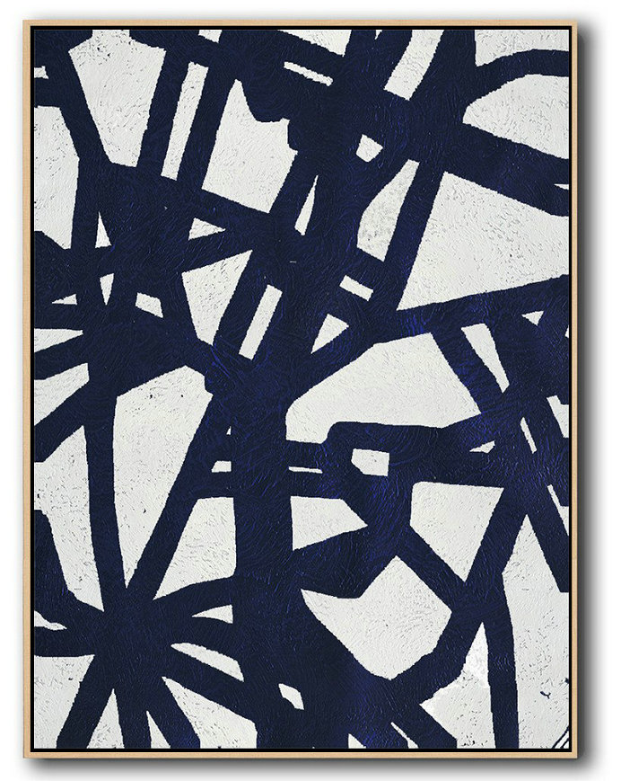 Handmade Extra Large Contemporary Painting,Buy Hand Painted Navy Blue Abstract Painting Online,Hand Painted Abstract Art