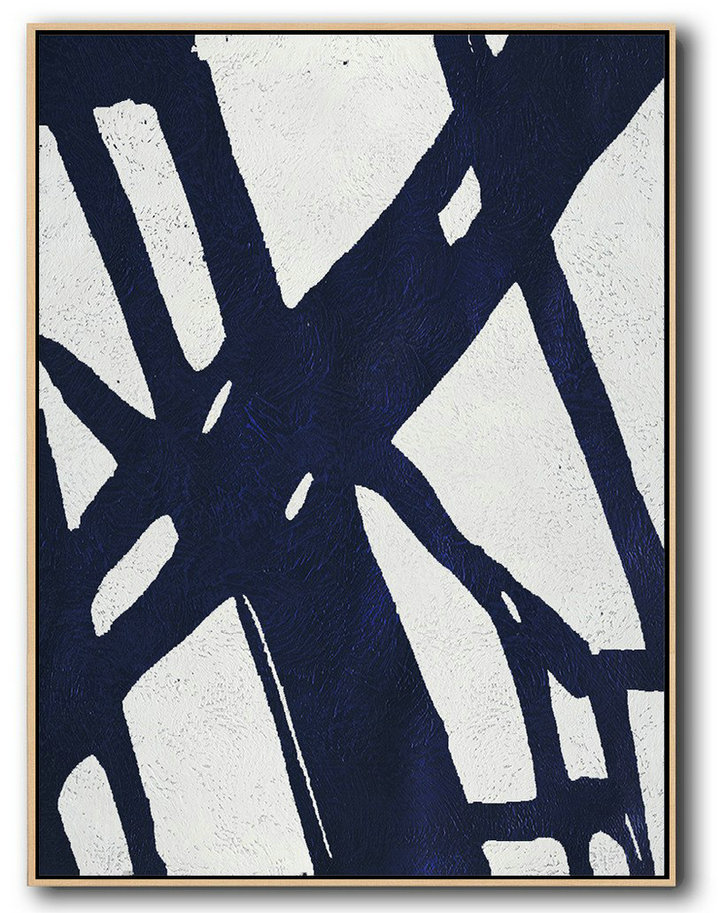 Large Abstract Painting,Buy Hand Painted Navy Blue Abstract Painting Online,Large Abstract Art Handmade Acrylic Painting