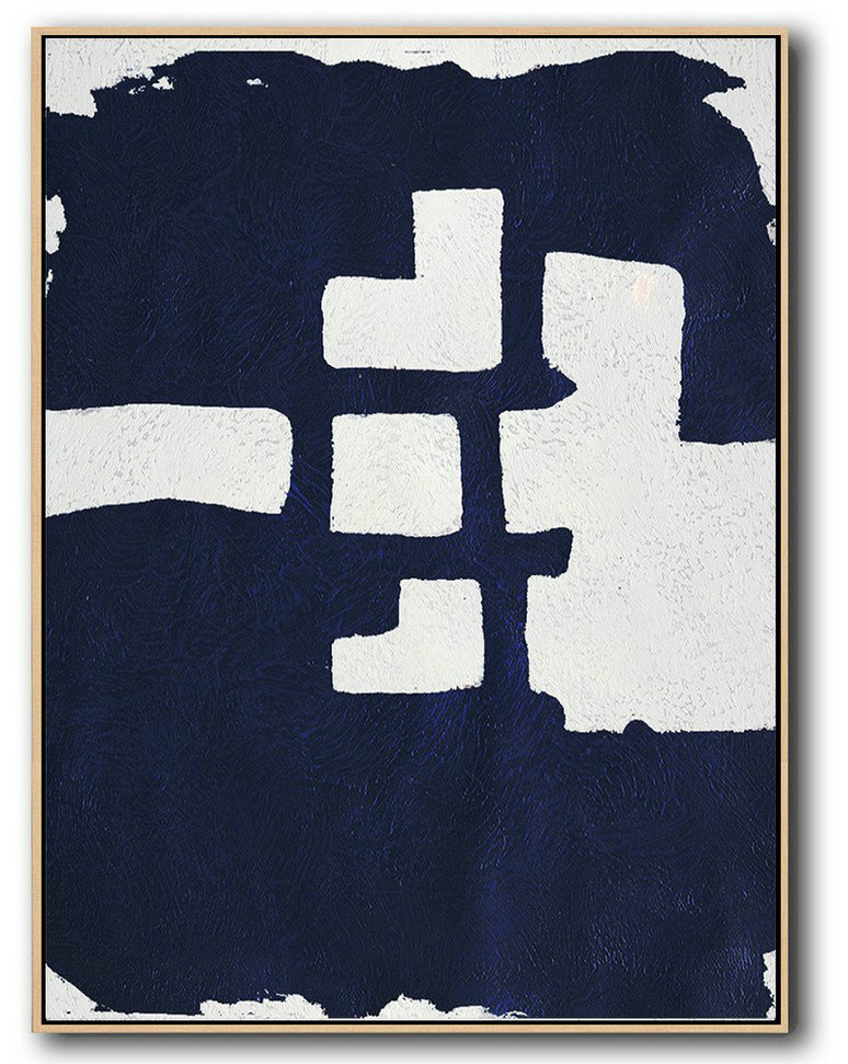 Large Abstract Painting Canvas Art,Buy Hand Painted Navy Blue Abstract Painting Online,Hand Painted Acrylic Painting