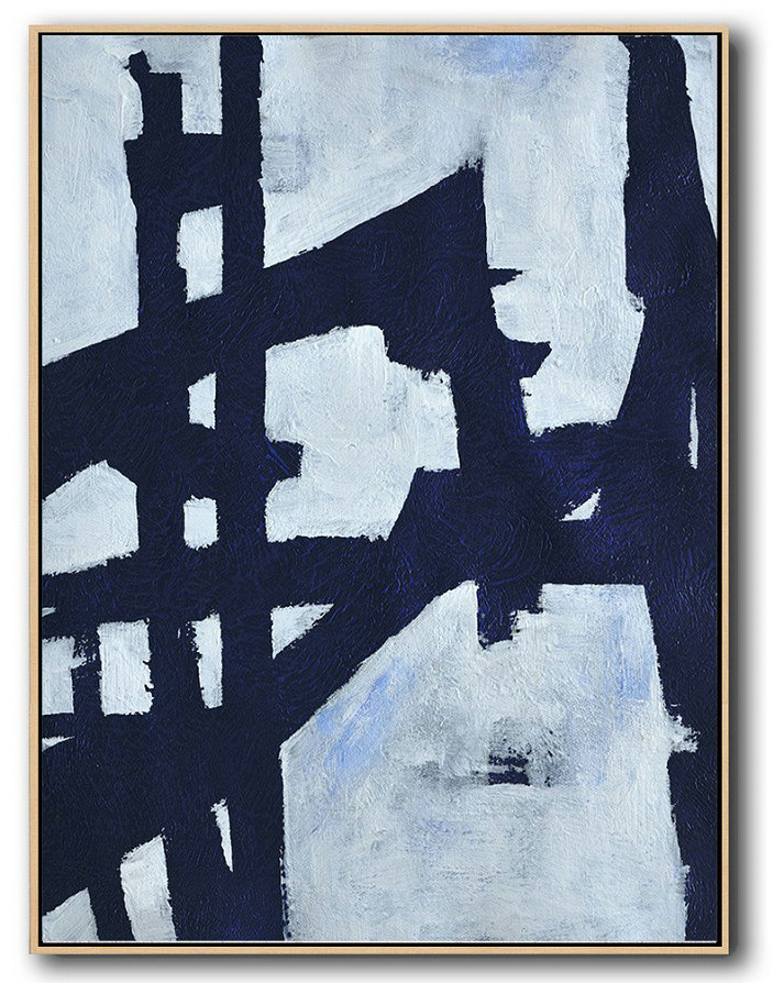 Handmade Large Contemporary Art,Buy Hand Painted Navy Blue Abstract Painting Online,Handmade Acrylic Painting