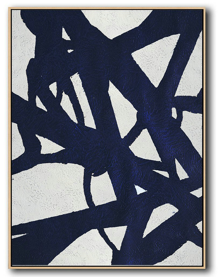 Large Contemporary Art Acrylic Painting,Buy Hand Painted Navy Blue Abstract Painting Online,Acrylic Minimailist Painting