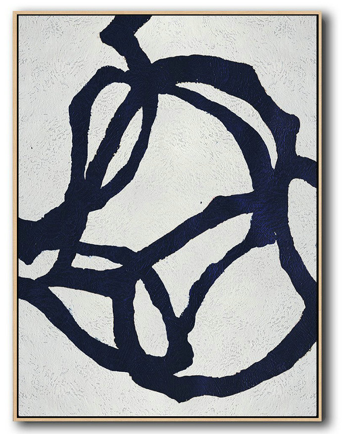 Hand Painted Extra Large Abstract Painting,Buy Hand Painted Navy Blue Abstract Painting Online,Hand Paint Large Art