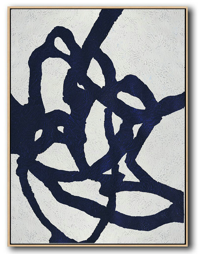 Large Abstract Art,Buy Hand Painted Navy Blue Abstract Painting Online,Original Art