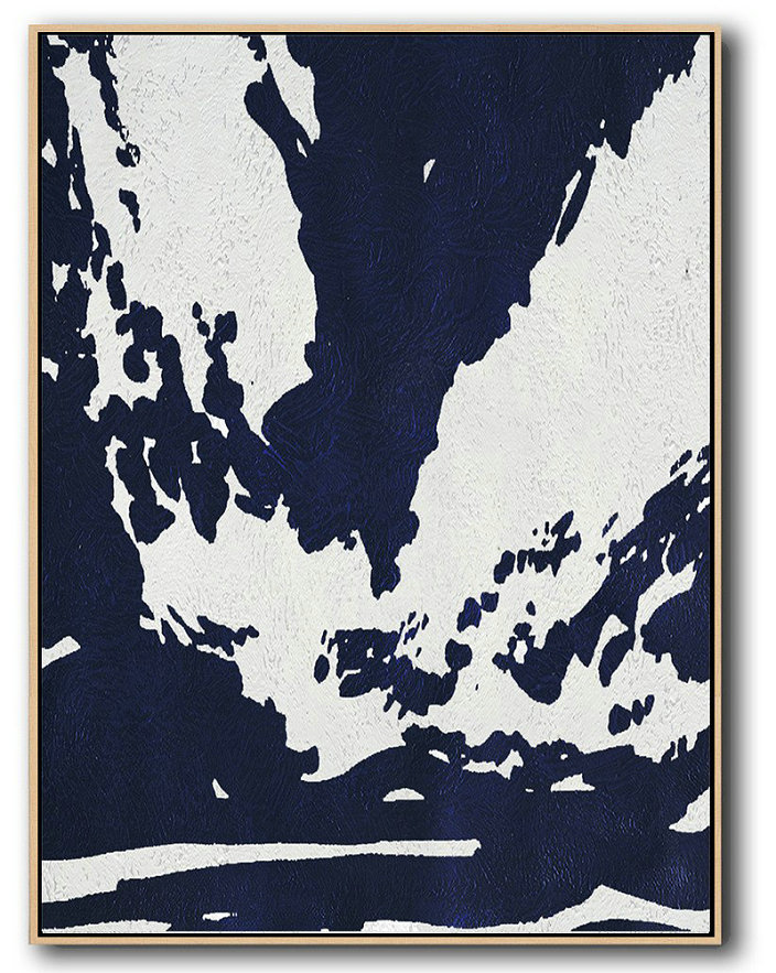 Extra Large Canvas Art,Buy Hand Painted Navy Blue Abstract Painting Online,Contemporary Art Canvas Painting