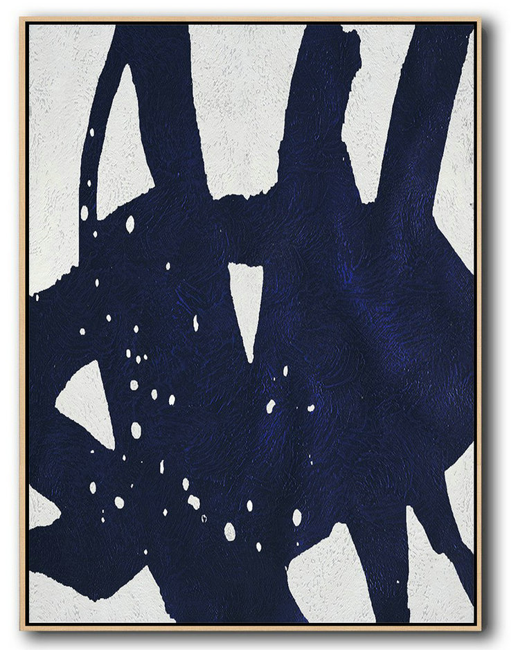 Handmade Large Painting,Buy Hand Painted Navy Blue Abstract Painting Online,Modern Wall Art