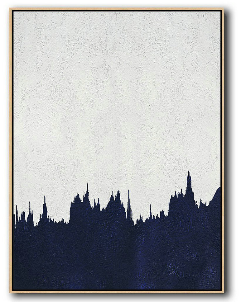 Handmade Extra Large Contemporary Painting,Buy Hand Painted Navy Blue Abstract Painting Online,Canvas Wall Art