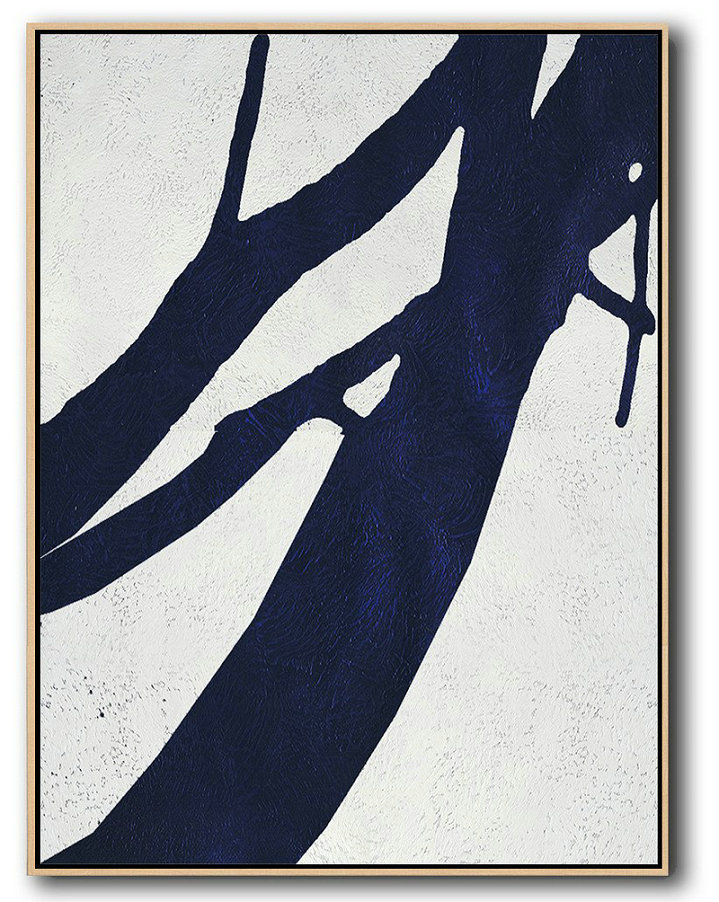 Modern Art Abstract Painting,Buy Hand Painted Navy Blue Abstract Painting Online,Canvas Wall Art