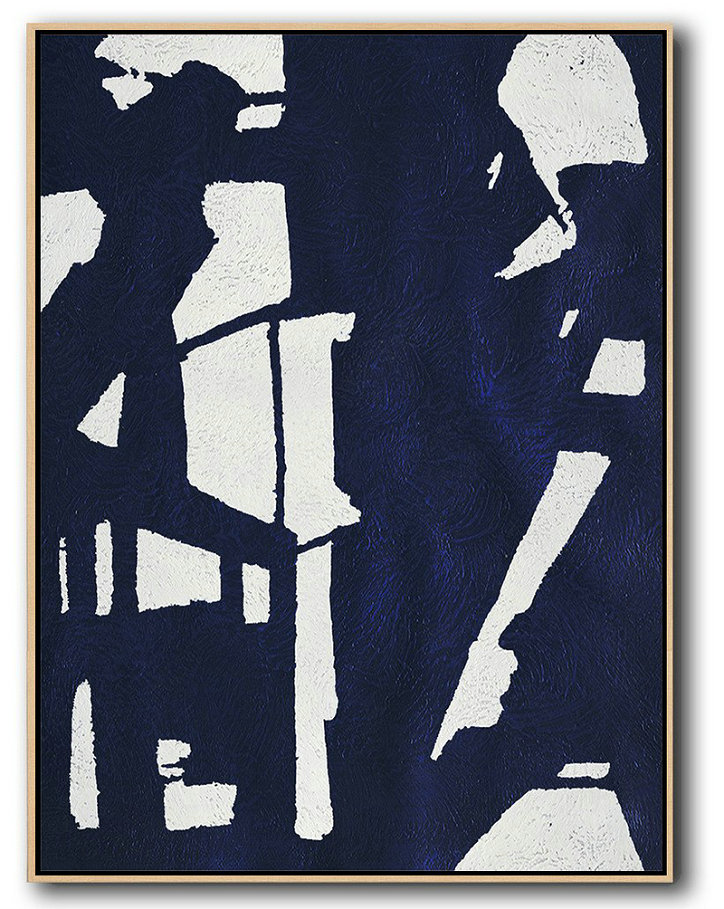 Original Extra Large Wall Art,Buy Hand Painted Navy Blue Abstract Painting Online,Large Abstract Wall Art