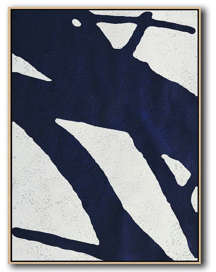 Large Modern Abstract Painting,Buy Hand Painted Navy Blue Abstract Painting Online,Wall Art Painting