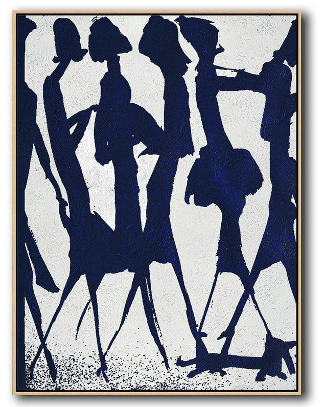 Hand Made Abstract Art,Buy Hand Painted Navy Blue Abstract Painting Online,Living Room Wall Art