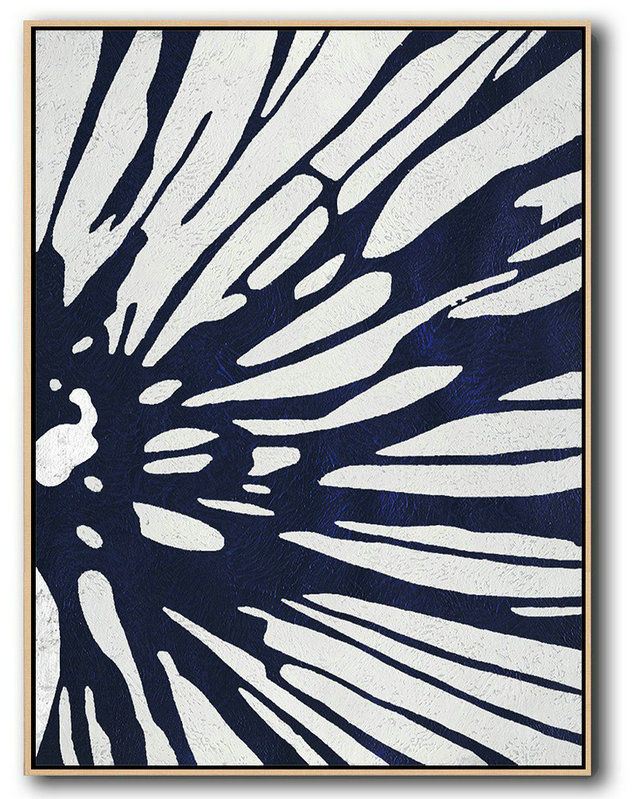 Abstract Painting Extra Large Canvas Art,Buy Hand Painted Navy Blue Abstract Painting Online,Canvas Wall Art Home Decor