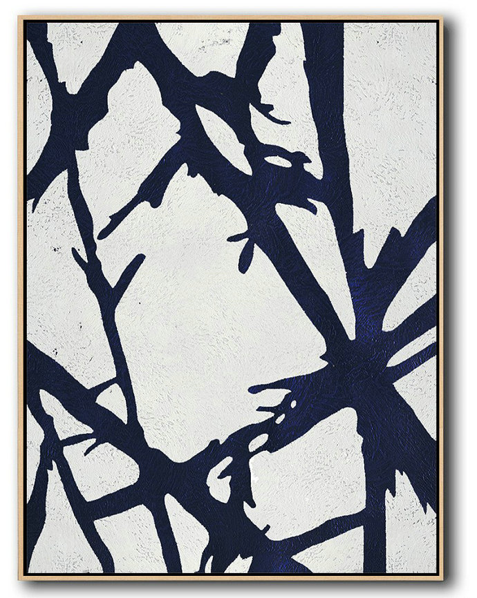 Modern Art Abstract Painting,Buy Hand Painted Navy Blue Abstract Painting Online,Acrylic Painting On Canvas