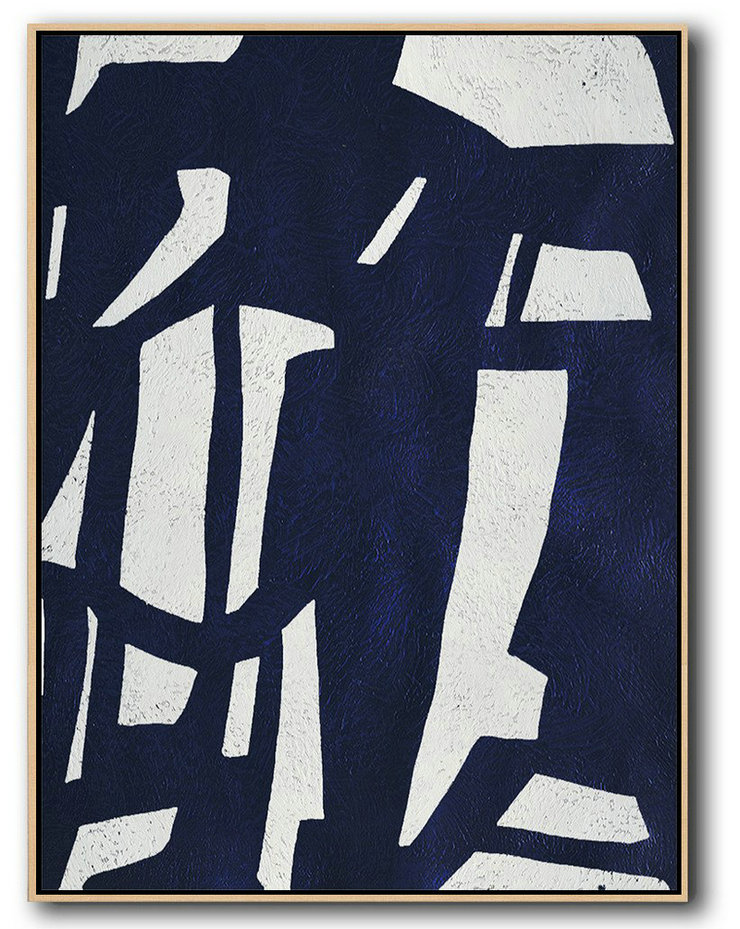 Abstract Painting Extra Large Canvas Art,Buy Hand Painted Navy Blue Abstract Painting Online,Extra Large Canvas Art,Handmade Acrylic Painting