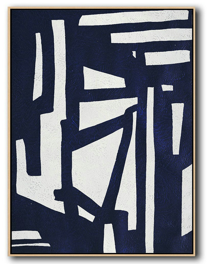 Extra Large Abstract Painting On Canvas,Buy Hand Painted Navy Blue Abstract Painting Online,Hand-Painted Contemporary Art