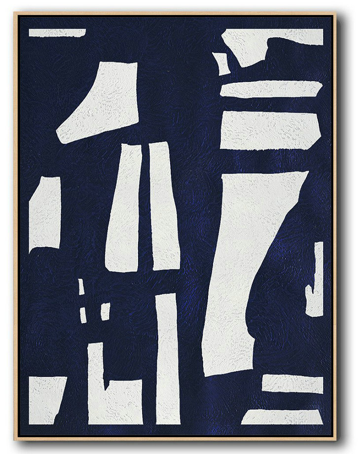 "Extra Large 72"" Acrylic Painting,Buy Hand Painted Navy Blue Abstract Painting Online,Abstract Art Decor,Contemporary Painting"