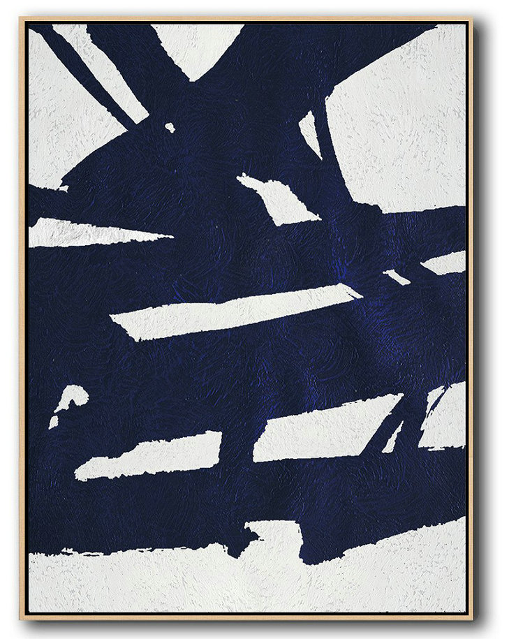 Hand Painted Extra Large Abstract Painting,Buy Hand Painted Navy Blue Abstract Painting Online,Oversized Custom Canvas Art
