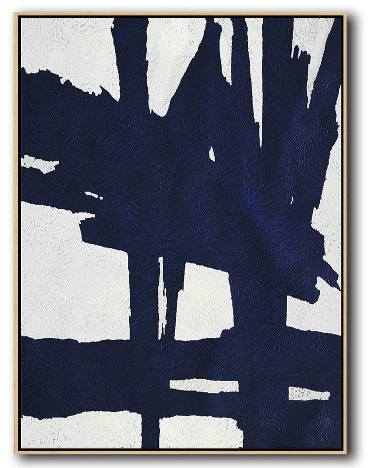 Extra Large Abstract Painting On Canvas,Buy Hand Painted Navy Blue Abstract Painting Online,Extra Large Artwork