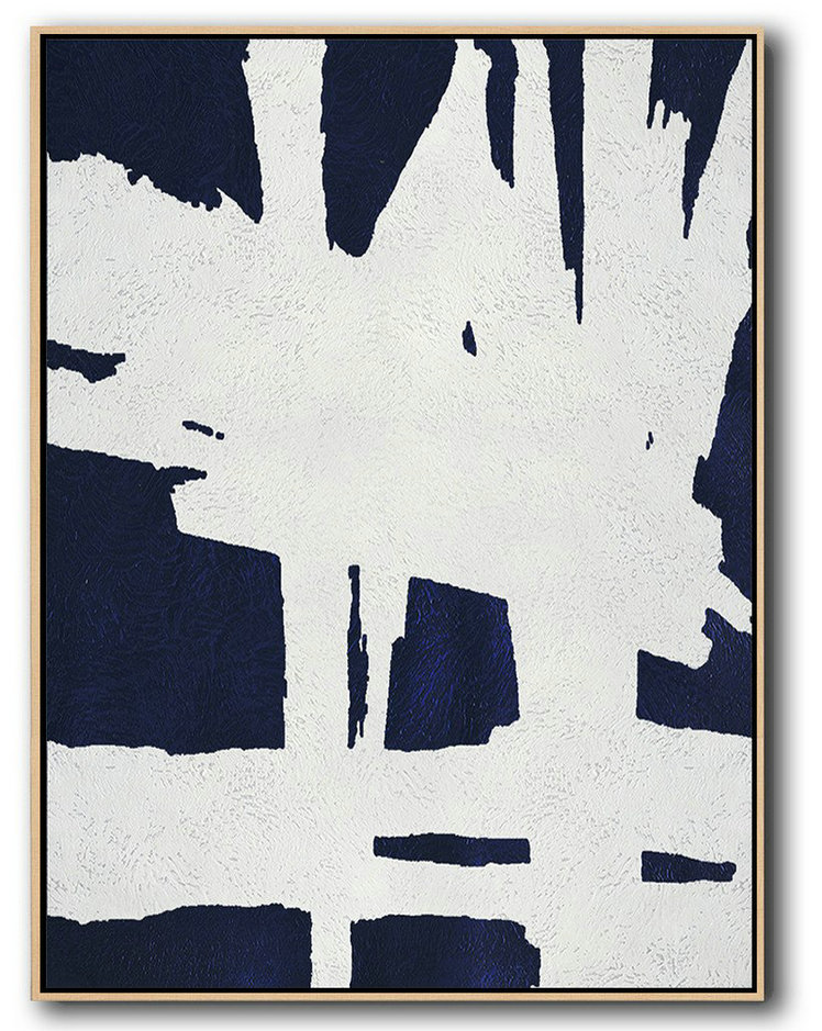 "Extra Large 72"" Acrylic Painting,Buy Hand Painted Navy Blue Abstract Painting Online,Large Wall Canvas"