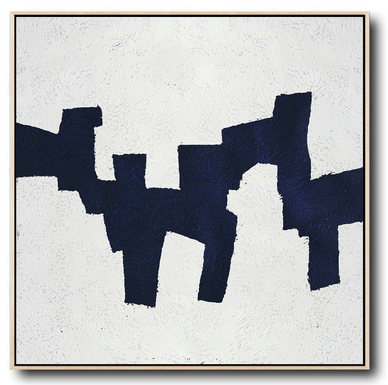 Hand Painted Extra Large Abstract Painting,Hand Painted Navy Minimalist Painting On Canvas,Contemporary Art Wall Decor