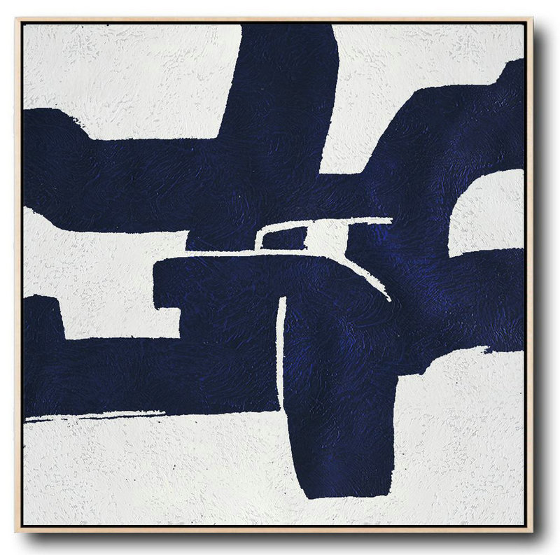 Extra Large Canvas Art,Hand Painted Navy Minimalist Painting On Canvas,Big Painting