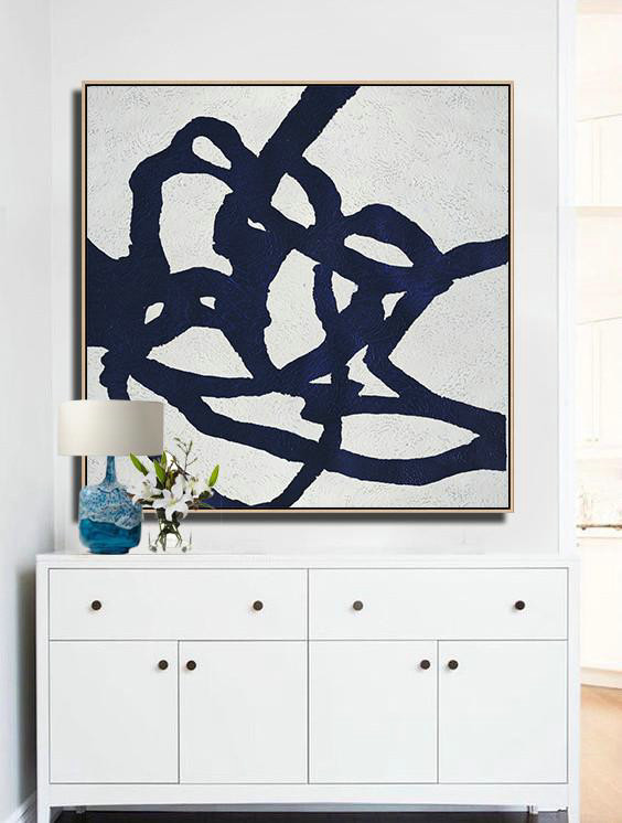 Abstract Painting Extra Large Canvas Art,Hand Painted Navy Minimalist Painting On Canvas,Huge Abstract Canvas Art