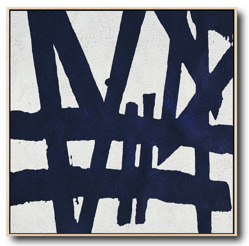 Extra Large Abstract Painting On Canvas,Hand Painted Navy Minimalist Painting On Canvas,Big Canvas Painting