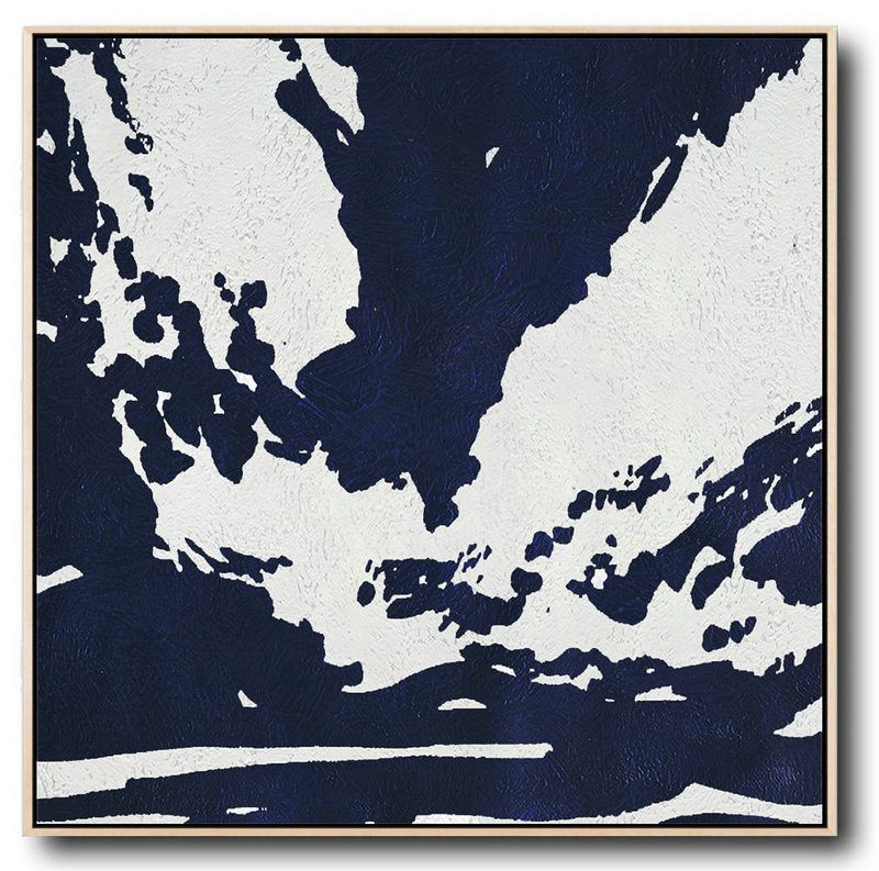 "Extra Large 72"" Acrylic Painting,Hand Painted Navy Minimalist Painting On Canvas,Oversized Custom Canvas Art"