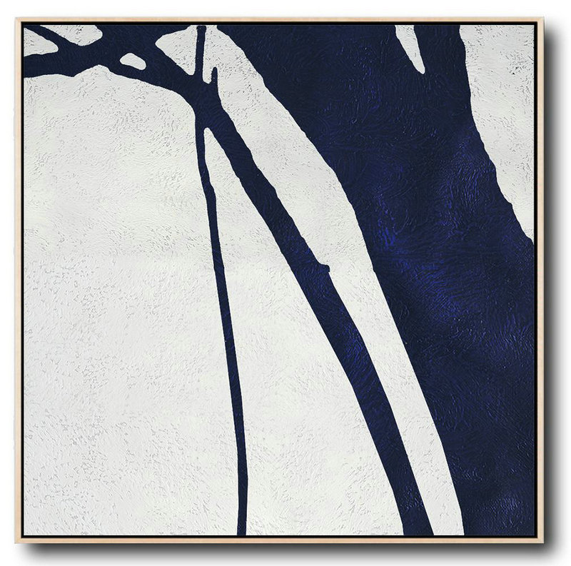 Abstract Art On Canvas, Modern Art,Hand Painted Navy Minimalist Painting On Canvas,Canvas Paintings For Sale