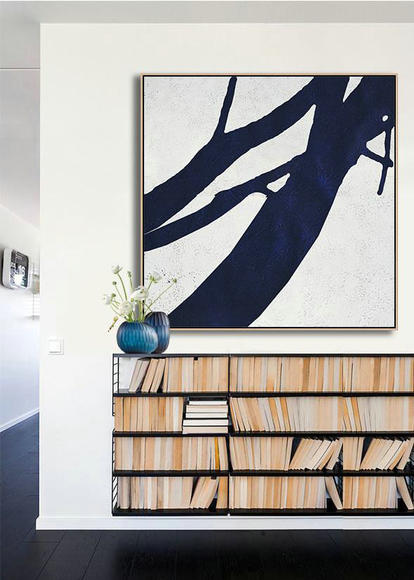 Original Extra Large Wall Art,Hand Painted Navy Minimalist Painting On Canvas,Large Wall Art Canvas