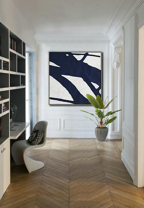 Hand Painted Abstract Art,Hand Painted Navy Minimalist Painting On Canvas,Colorful Wall Art