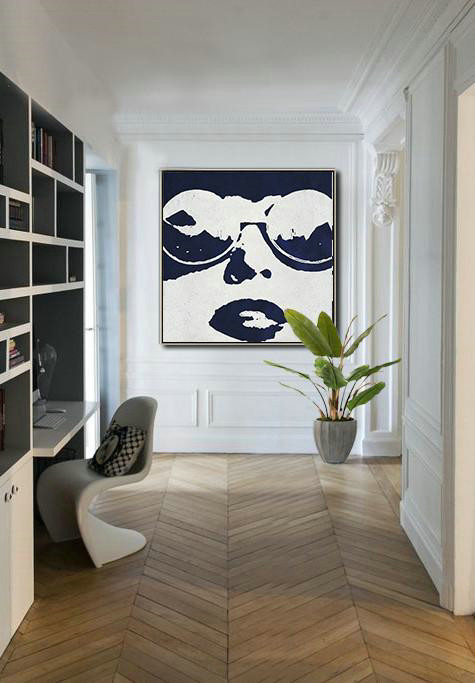 Handmade Large Contemporary Art,Hand Painted Navy Minimalist Painting On Canvas,Modern Canvas Art