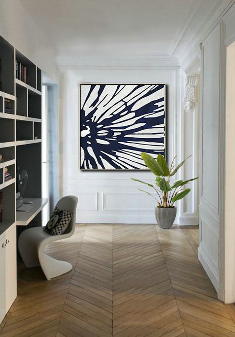 Abstract Painting Extra Large Canvas Art,Hand Painted Navy Minimalist Painting On Canvas,Unique Canvas Art