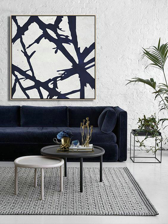 Large Contemporary Art Acrylic Painting,Hand Painted Navy Minimalist Painting On Canvas,Canvas Wall Paintings