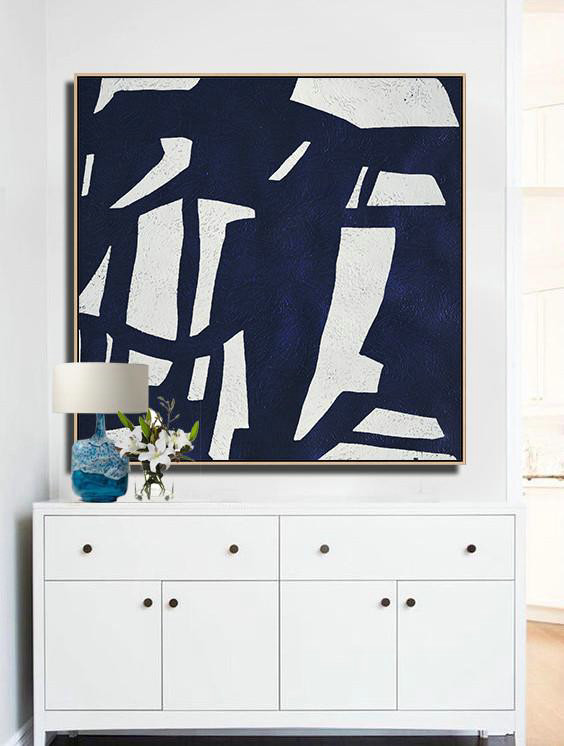 Abstract Painting Extra Large Canvas Art,Hand Painted Navy Minimalist Painting On Canvas,Textured Painting Canvas Art
