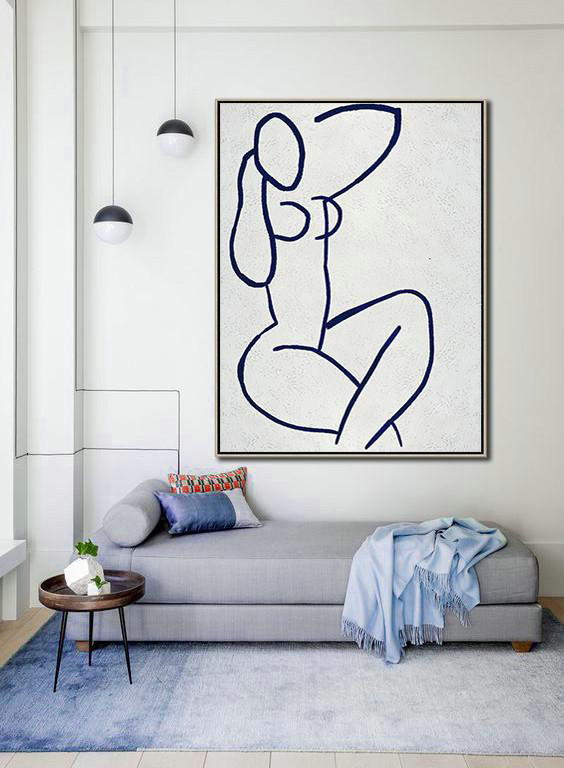 Large Contemporary Art Acrylic Painting,Buy Hand Painted Navy Blue Abstract Painting Nude Art Online,Canvas Paintings For Sale