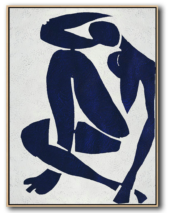 Abstract Painting Extra Large Canvas Art,Buy Hand Painted Navy Blue Abstract Painting Nude Art Online,Colorful Wall Art