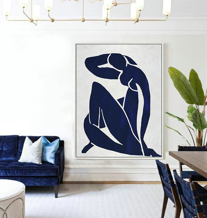 Extra Large Canvas Art,Buy Hand Painted Navy Blue Abstract Painting Nude Art Online,Wall Art Ideas For Living Room