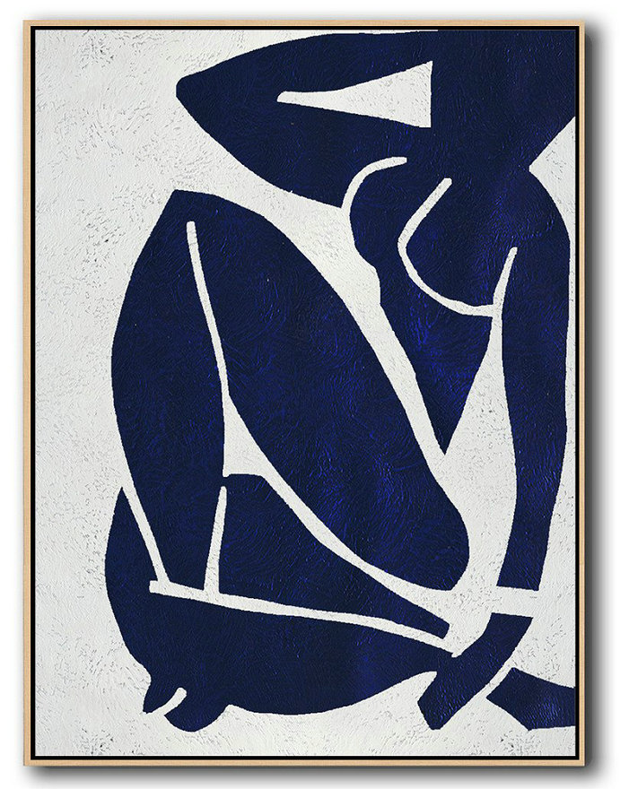 Extra Large Abstract Painting On Canvas,Buy Hand Painted Navy Blue Abstract Painting Nude Art Online,Pop Art Canvas