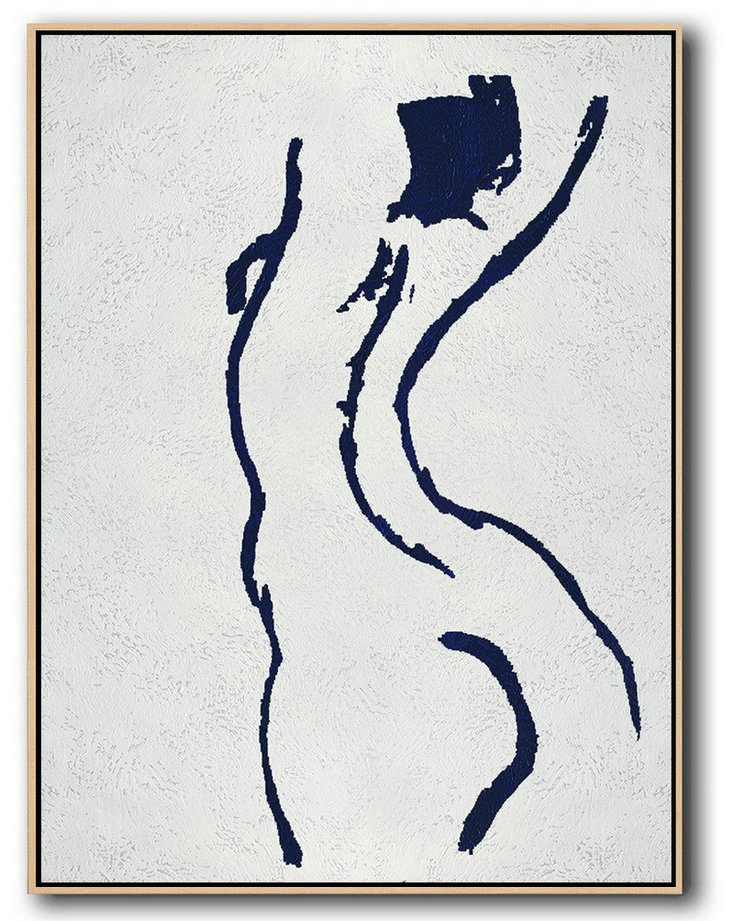 Handmade Large Contemporary Art,Buy Hand Painted Navy Blue Abstract Painting Nude Art Online,Hand-Painted Canvas Art