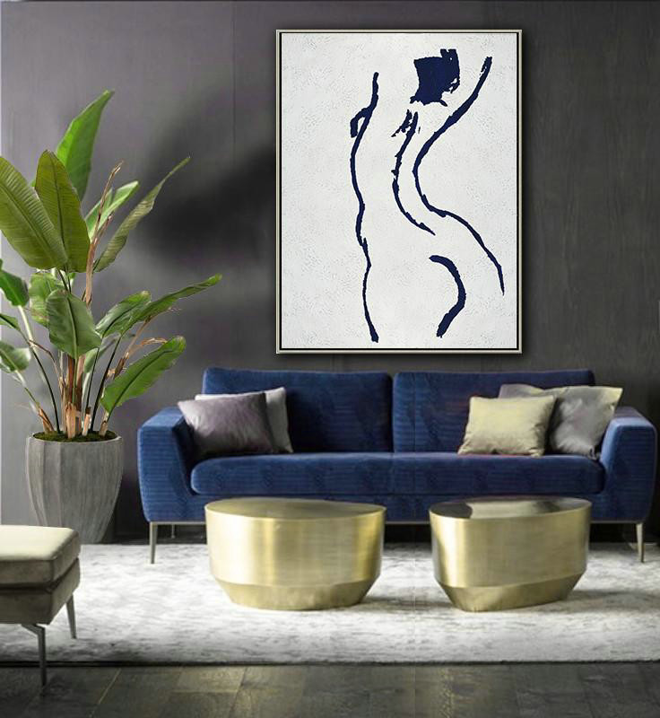 Large Abstract Art,Buy Hand Painted Navy Blue Abstract Painting Nude Art Online,Wall Art Painting