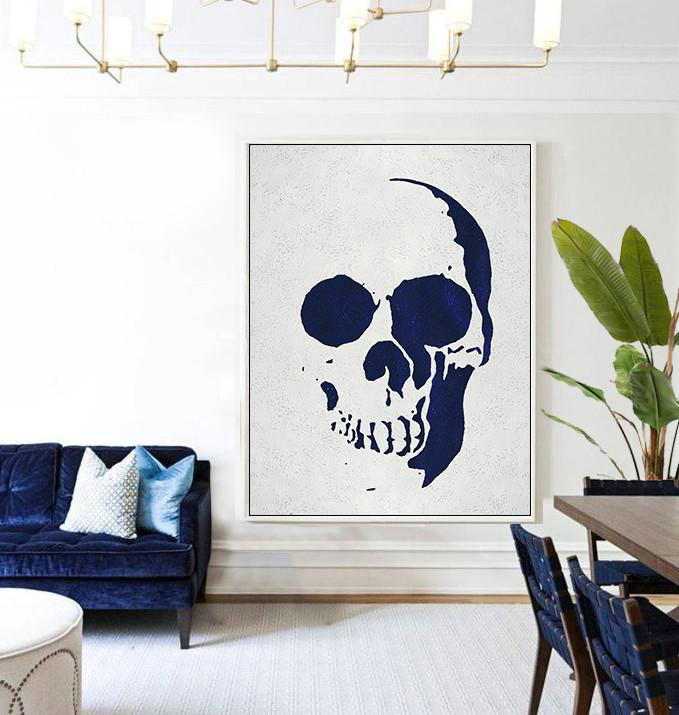Handmade Large Painting,Buy Hand Painted Navy Blue Abstract Painting Skull Art Online,Huge Abstract Canvas Art